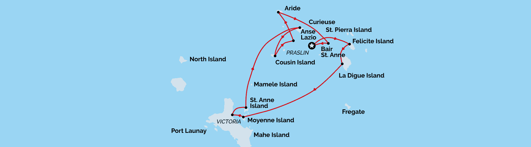 Seychelles cruising map, Unforgettable Cruises
