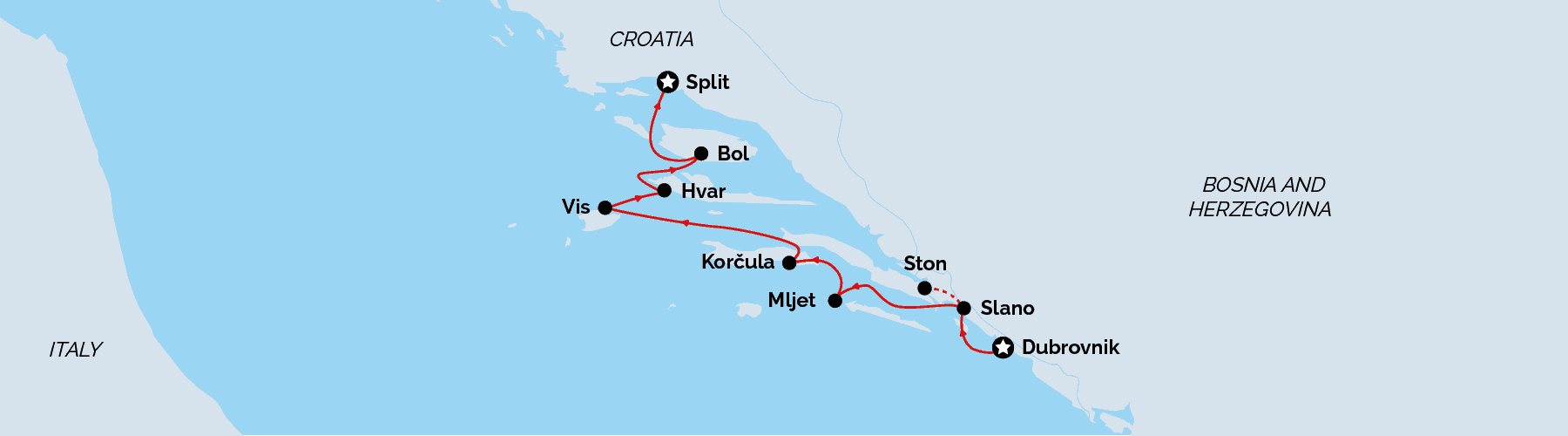 Luxury Dubrovnik to Split Cruise