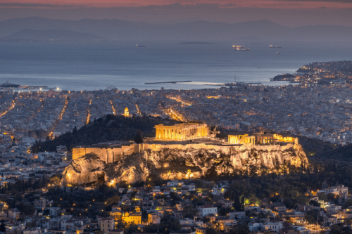 aerial shot of the Acropolis in Athens, Greece